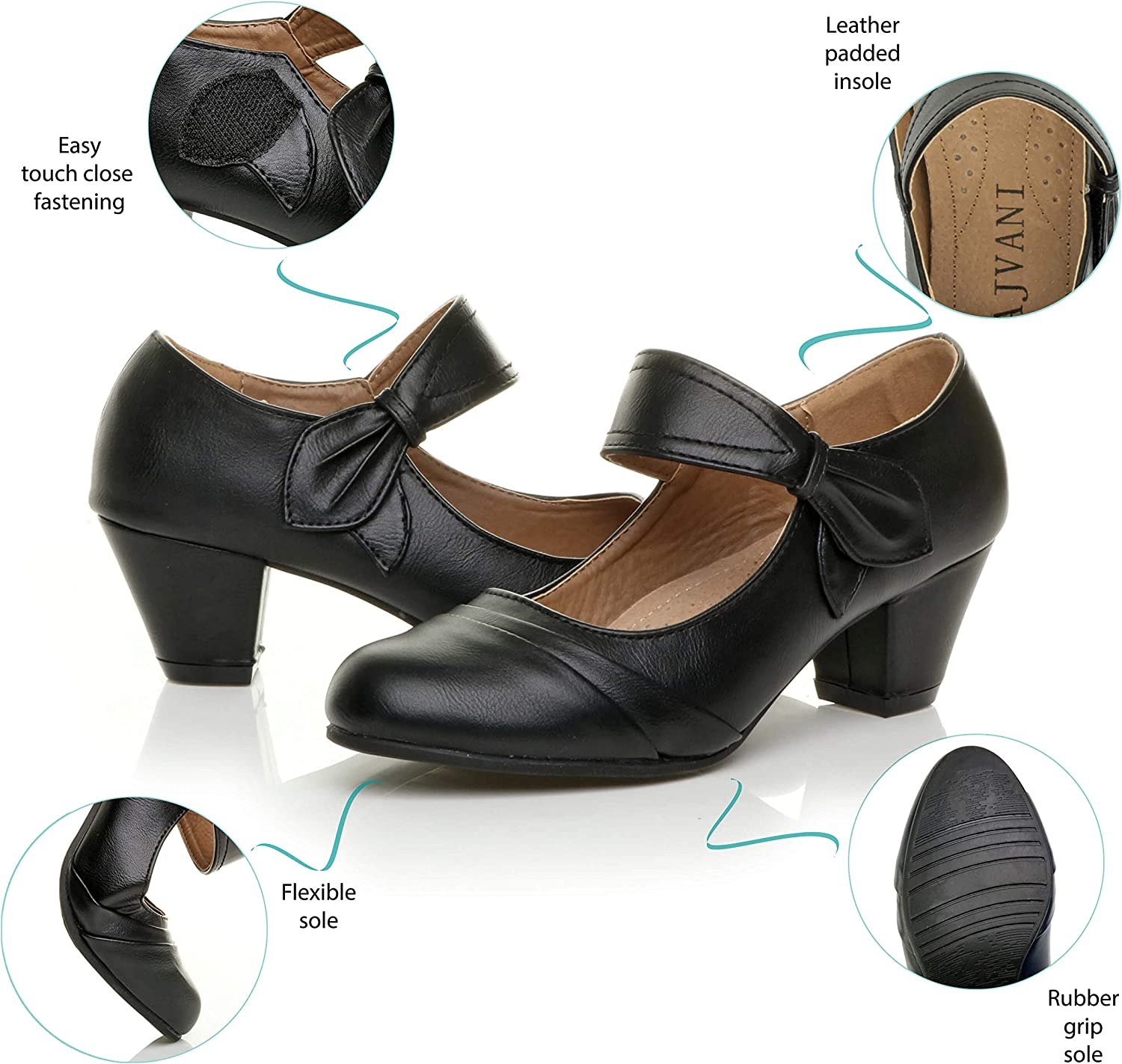 Womens Ladies mid Block Heel Mary Jane Work Smart Comfort Padded Court Shoes Size Tan
