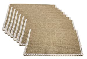 """FiveRen Jute Burlap Placemat, Super Value Hand Made Ladder Lace Look Placemat & One of Life's Little Home Luxuries, 15.75""""x11.8"""" (Set of 8)"""