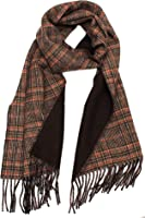Amicale Men's Brown Glen Plaid Double Faced Cold Weather Scarf
