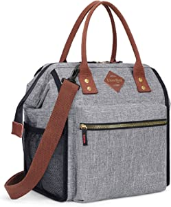 UTOTEBAG Insulated Lunch Bag Leak Proof Lunch Box Thermal Lunch Tote with Removable Shoulder Strap for Women Men Wide-open Snacks Organizer for Work College Outdoor, Grey