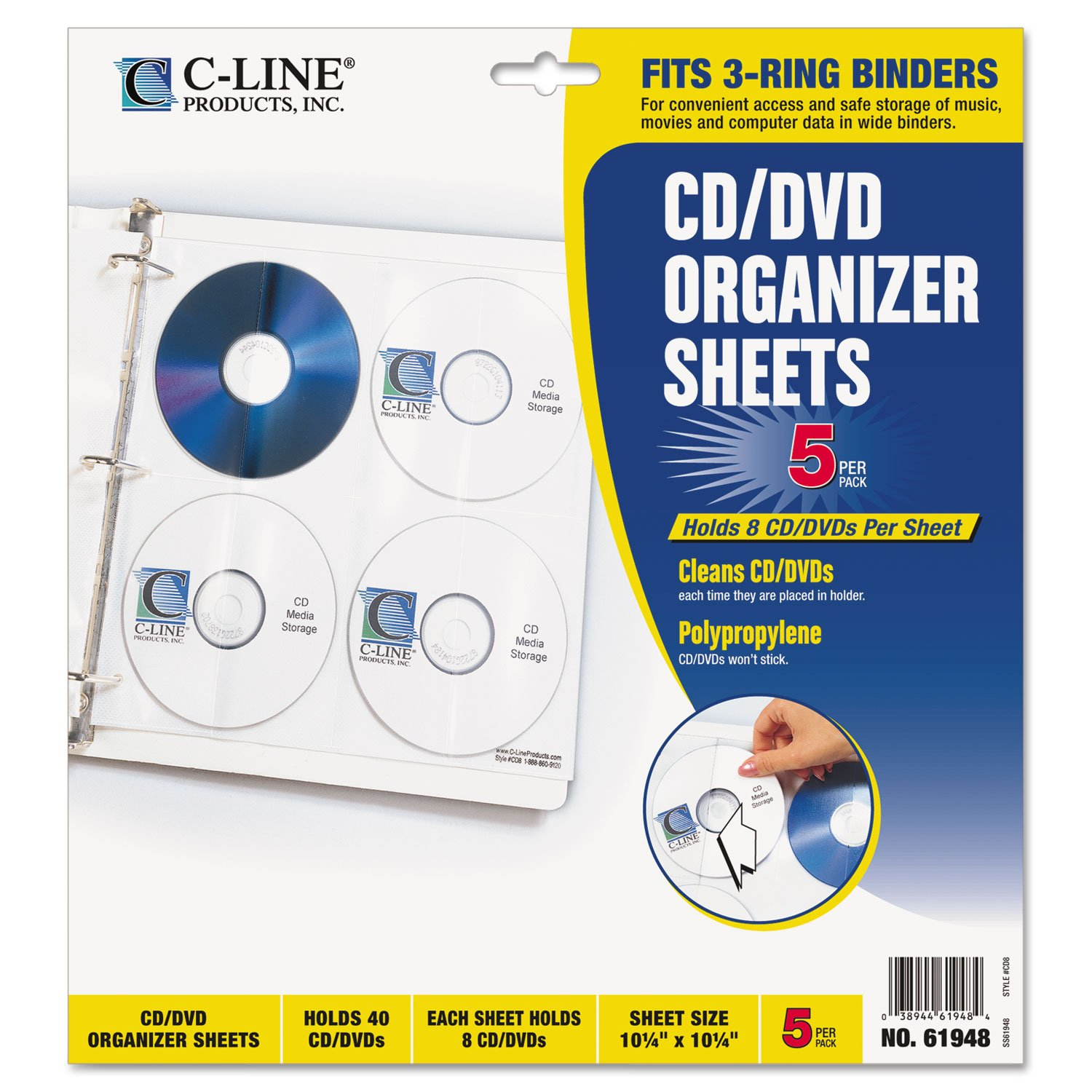 C-Line Deluxe CD Ring Binder Storage Pages for Standard 3-Ring Binders, Stores 8 CDs, 11.3 x 10.4 Inches, 5 Pages per Pack (61948)