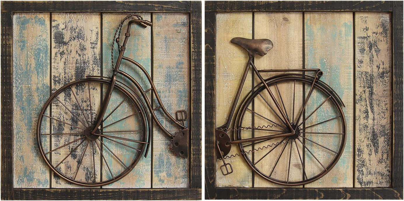 Stratton Home Decor S01209 Bicycle Wall Decor, Set of 2, Rustic, 32 W x 1.38 D x 16 H, Multi