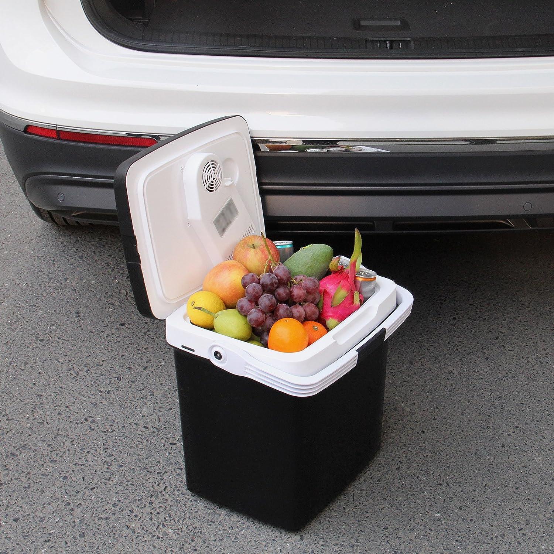 Energy efficiency class A++ WOLTU KUE002sz Small Mini Car Refrigerator Thermo-Electric Cooler Box Mobility Mini Car Fridge For Travel Camping Picnic Black 26L 12V DC//230V AC