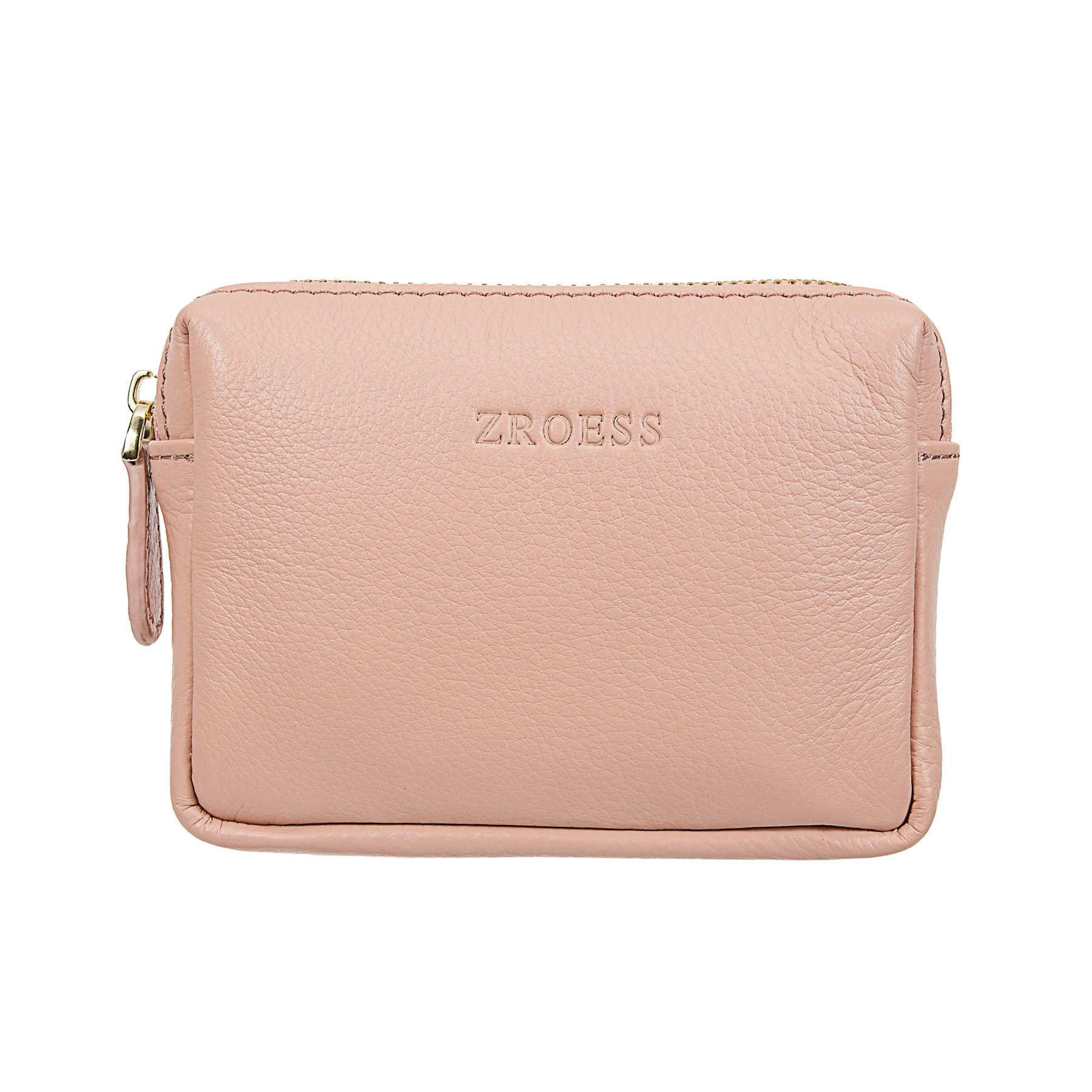 ZORESS Mini Soft Leather Coin Purse Card Holder with Key Chain (Pink)