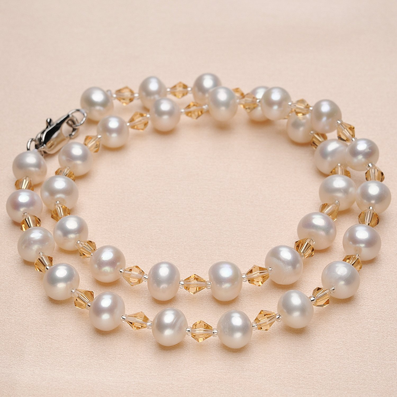 CS-DB Pendants Trendy Style Pearl Yellow Crystal Silver Necklaces