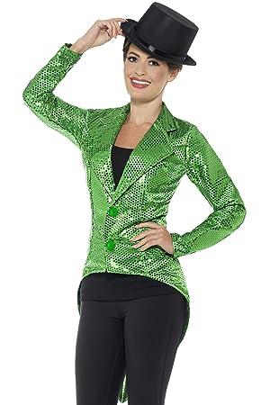 Smiffys Chaqueta de FRAC con Lentejuelas, Verde, para Mujer