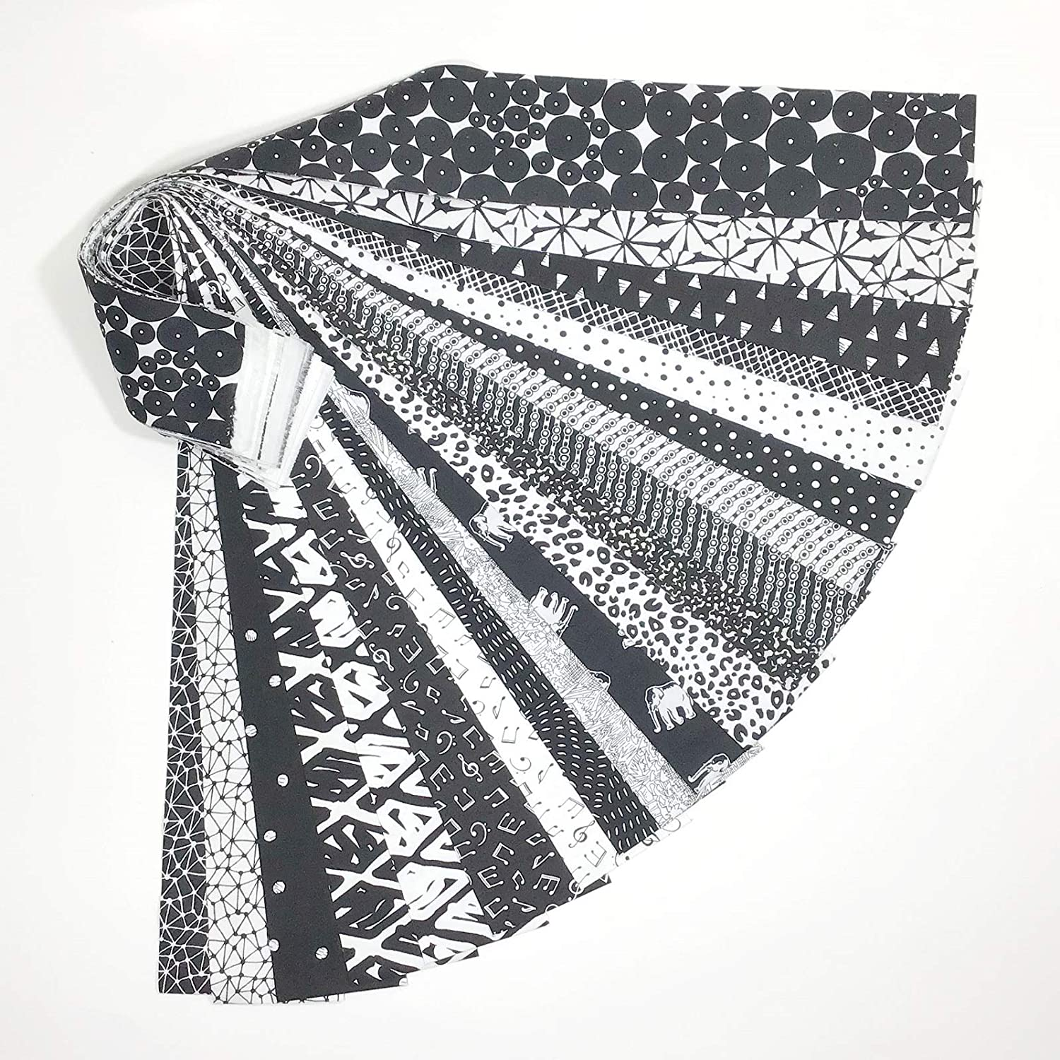 Jelly Roll 20 Cotton Quilting Fabric Strips 2.5 X 43-inch Classic Black and White No Duplicates Material Treasures CBW-20