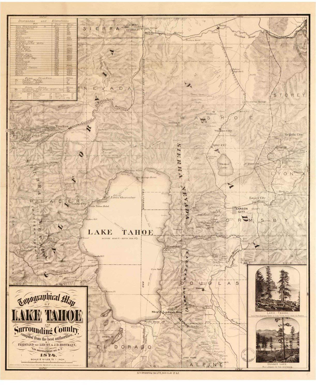 Map Of California Lakes.Amazon Com Lake Tahoe 1874 Map Topographical Reprint California