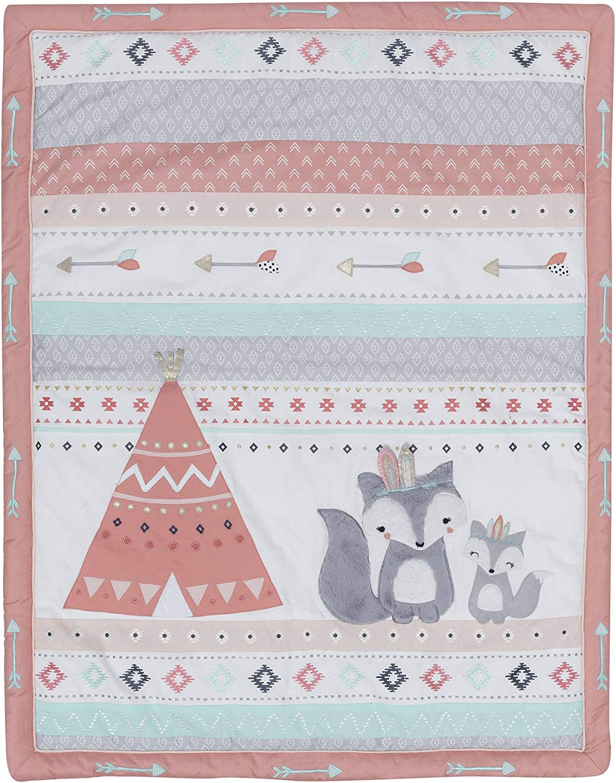 Lambs /& Ivy Little Spirit 3-Piece Crib Bedding Set White Coral Gray Blue