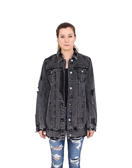 b7d6d243338 Cello Jeans Women Black Denim Distressed Long Girlfriend Jacket with Black  Rose Embroidery S Black