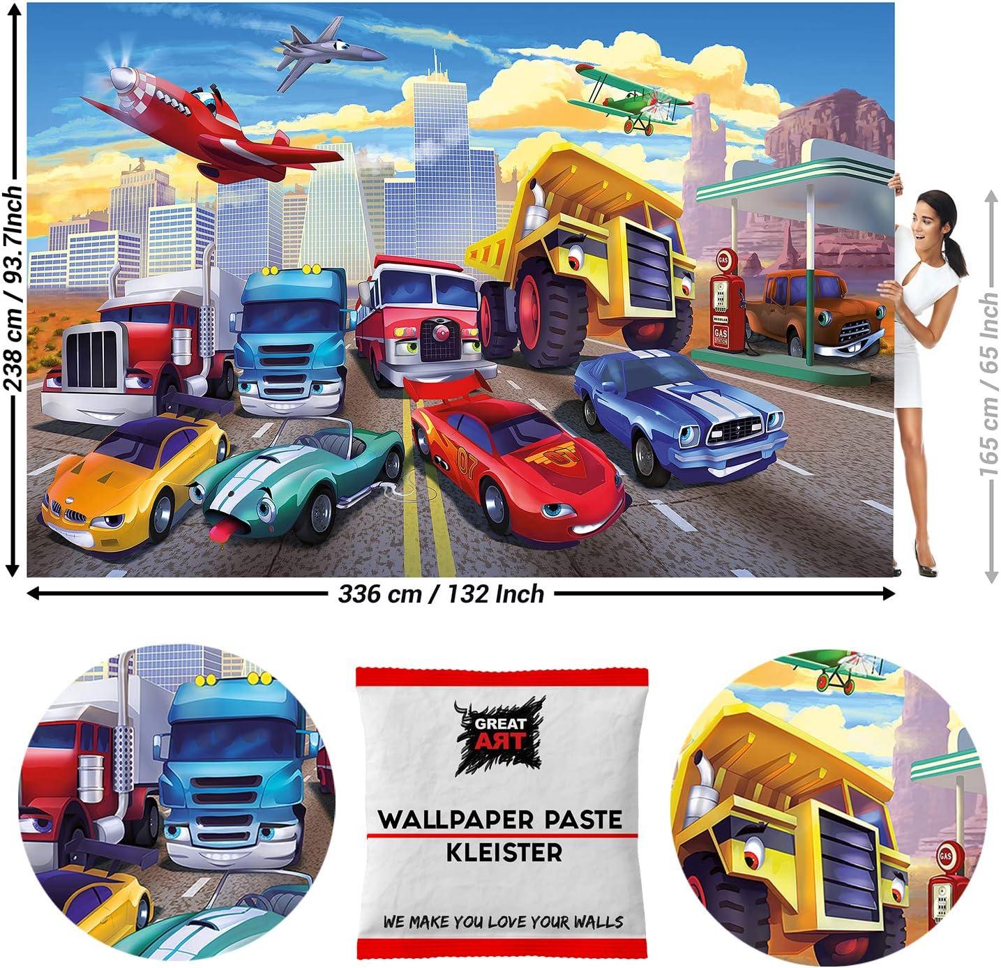 GREAT ART Foto Mural de Playa y Palmas Papel Pintado 5 Piezas incluye Pasta para pegar Decoraci/ón Hogar Poster Tropical 210 x 140 cm