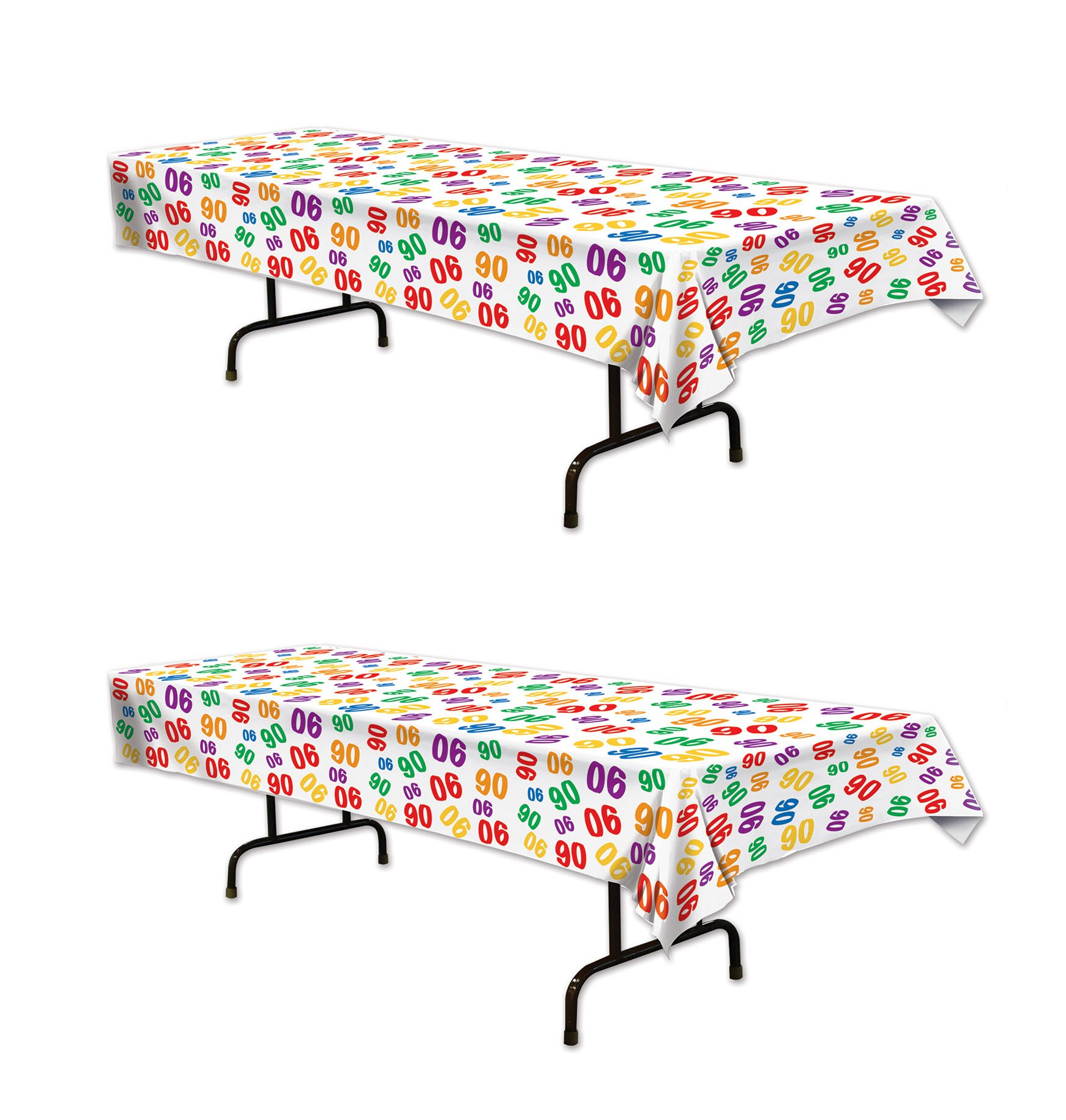 Beistle 57824-90, 2 Piece ''90'' Tablecovers, 54'' x 108''