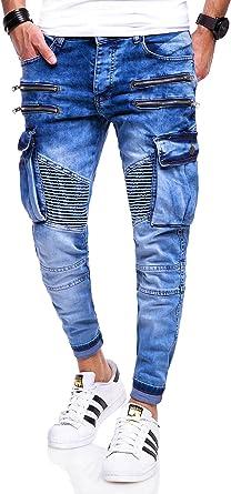 BEHYPE Jeans Herren Röhrenjeans Knie Risse Biker Hose Schwarz//Weiß//Blau NEU