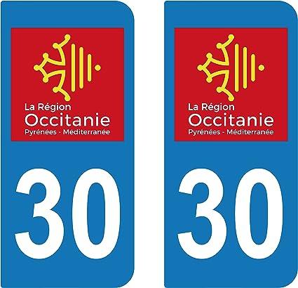 2 adhesivos adhesivo para matrícula Departement del Gard 30 Region ...