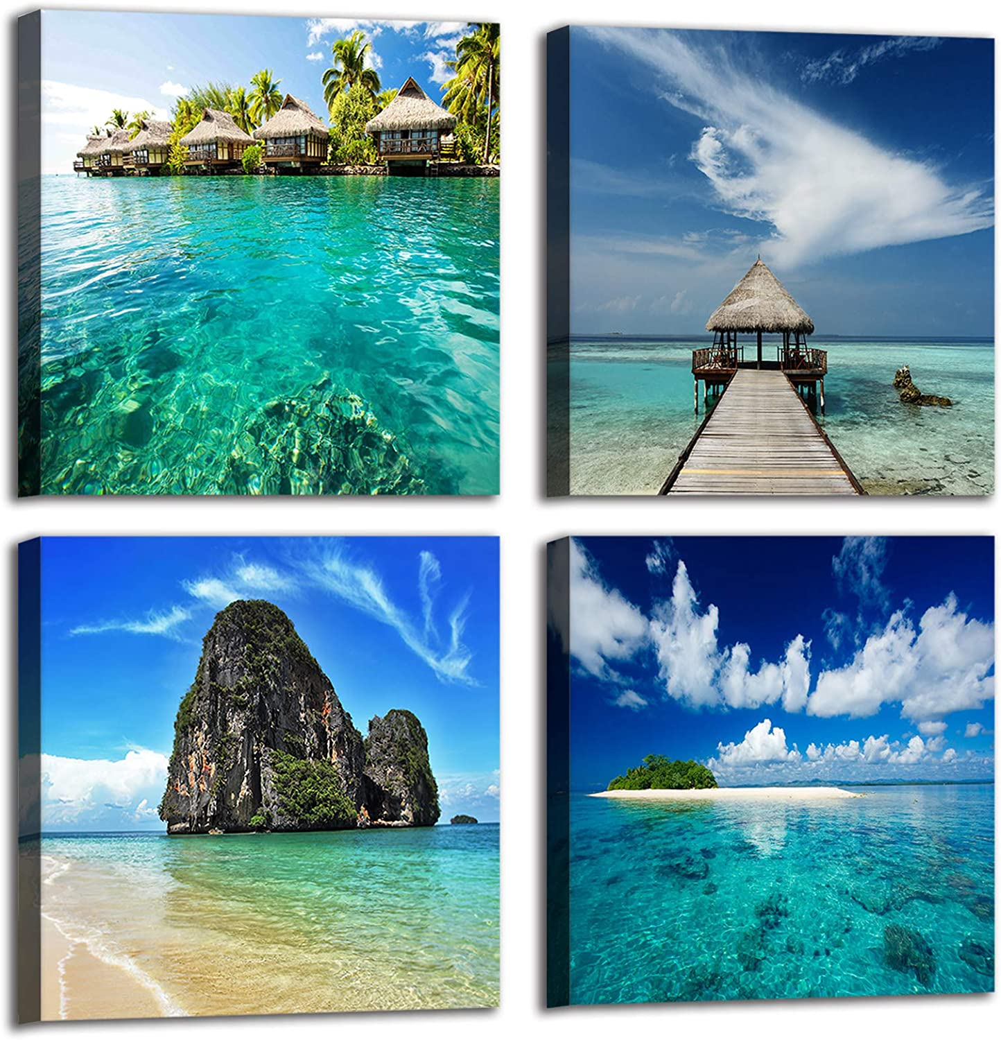 Blue Teal Natural Seaside Landscape Wall Art Pictures, 4 Panels Beach Dreamed Place Coastal Wall Decor, Island Seascape Canvas Prints for Living Room Kitchen Bathroom, Size 12'' x 12'' x 4