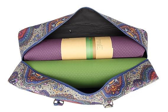 Elenture Lienzo Yoga Mat Bolsa con Bolsillos de Almacenamiento, se Adapta a la mayoría tamaño Yoga Mats