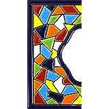 """Letreros con numeros y letras en azulejo de ceramica policromada, pintados a mano en técnica cuerda seca para placas con nombres, direcciones y señaléctica. Texto personalizable. Diseño MOSAICO MEDIANO 10,9 cm x 5,4 cm. (MARGEN """"CENEFA"""")"""