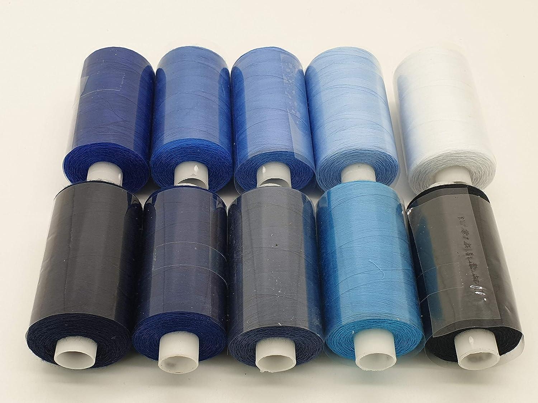 100/% Polyester MNJ-Trimmings Overlockgarn 10 Spulen mit je 1000 Metern 5 WEISS//5 SCHWARZ