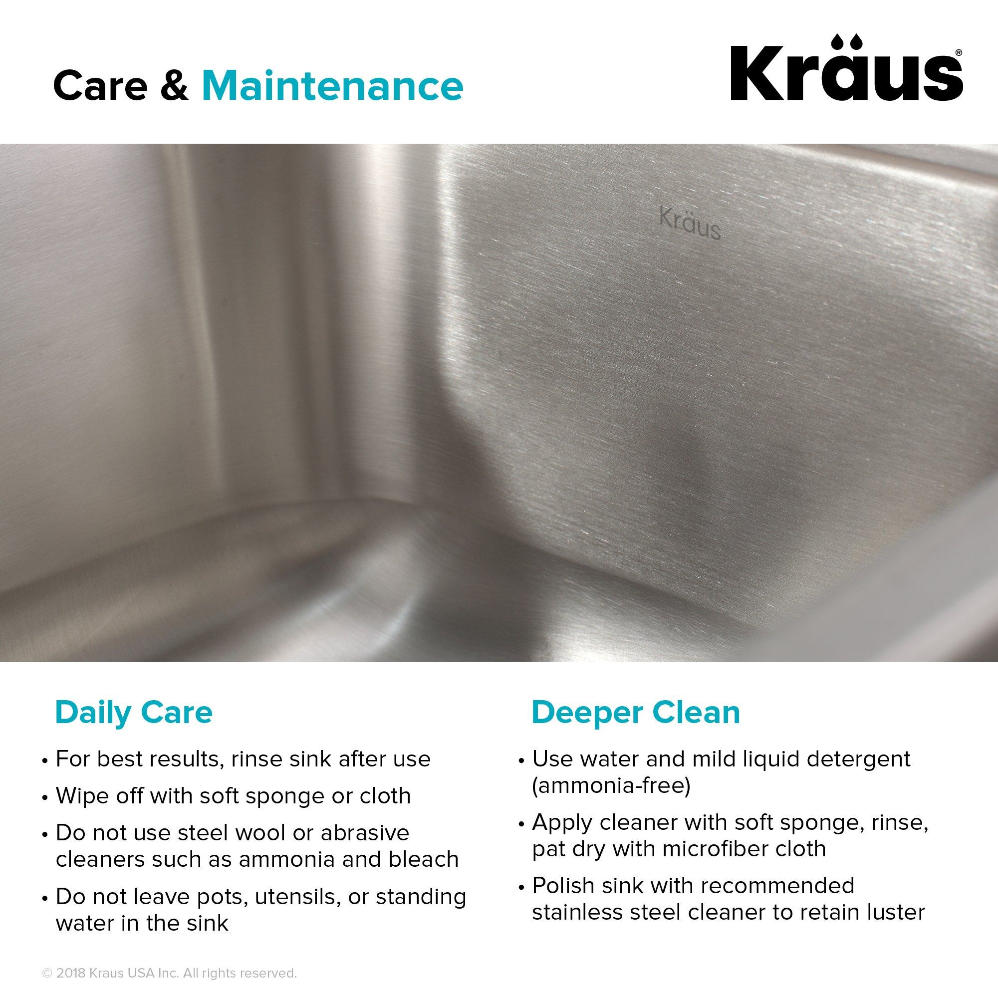 Kraus KBU14 31-1/2 inch Undermount Single Bowl 16-gauge Stainless Steel Kitchen Sink by Kraus (Image #9)