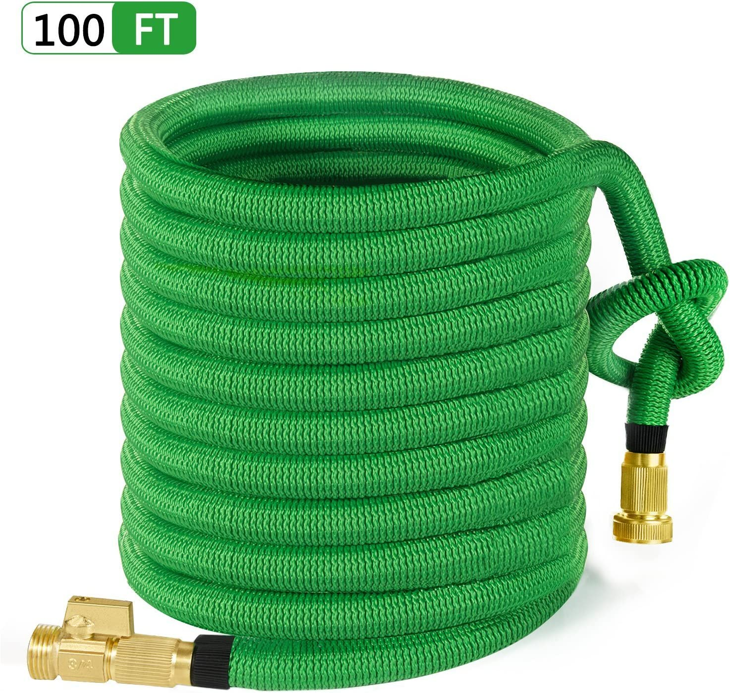 "MoonLa 100ft Garden Hose, All New Expandable Water Hose with 3/4"" Solid Brass Fittings, Extra Strength Fabric - Flexible Expanding Hose with Free Storage Bag"