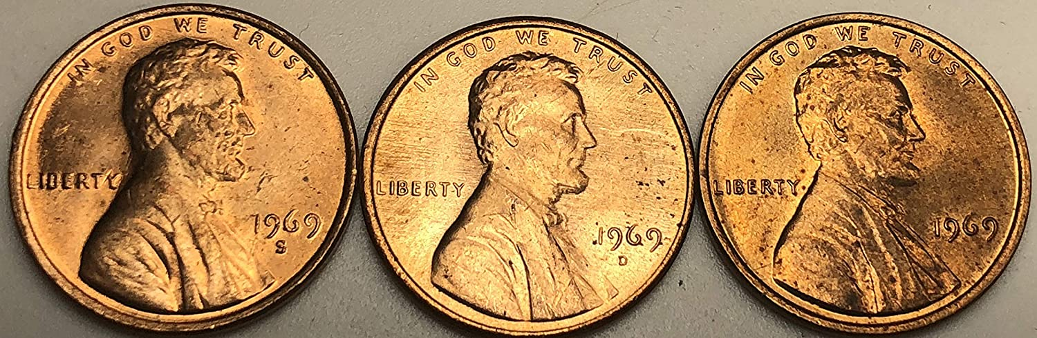 PDS Lincoln Cent Set 1969 Brilliant Uncirculated