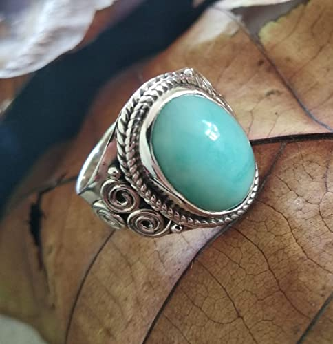Boho Ring 925 Sterling Silver Ring Oval Gemstone Ring Blue Larimar Ring Statement Ring Wide Band Ring Christmas Gift Cabochon Stone