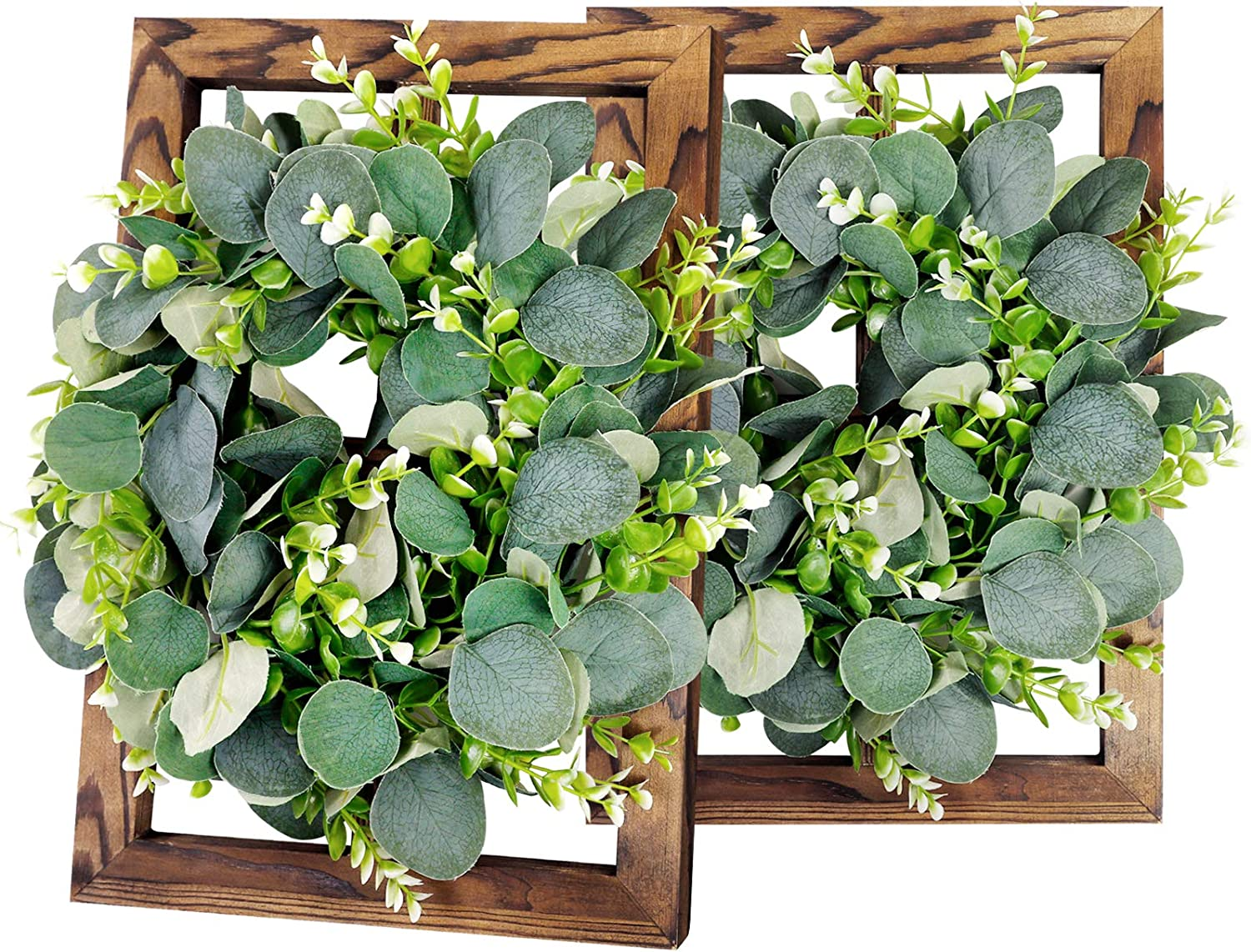 Window Frame with Eucalyptus Wreaths Wall Decor- Rustic Farmhouse Decoration 4 Pane Window Barnwood Frames for Home Living Room Kitchen (2 Pack, 15