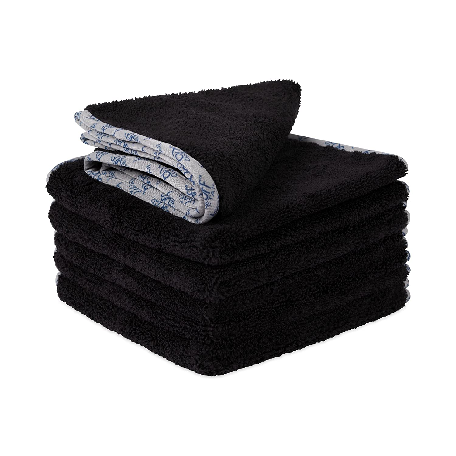 Buff Detail 400 Automotive Microfiber Towel | All-Purpose Auto Detailing - Wax, Buff, Polish, Wash, Dry | Soft Satin Piped Edges | Streak Free Shine | 16'x16' | 6 Pack (Black) Dry | Soft Satin Piped Edges | Streak Free Shine | 16x16 | 6 Pack (Black)