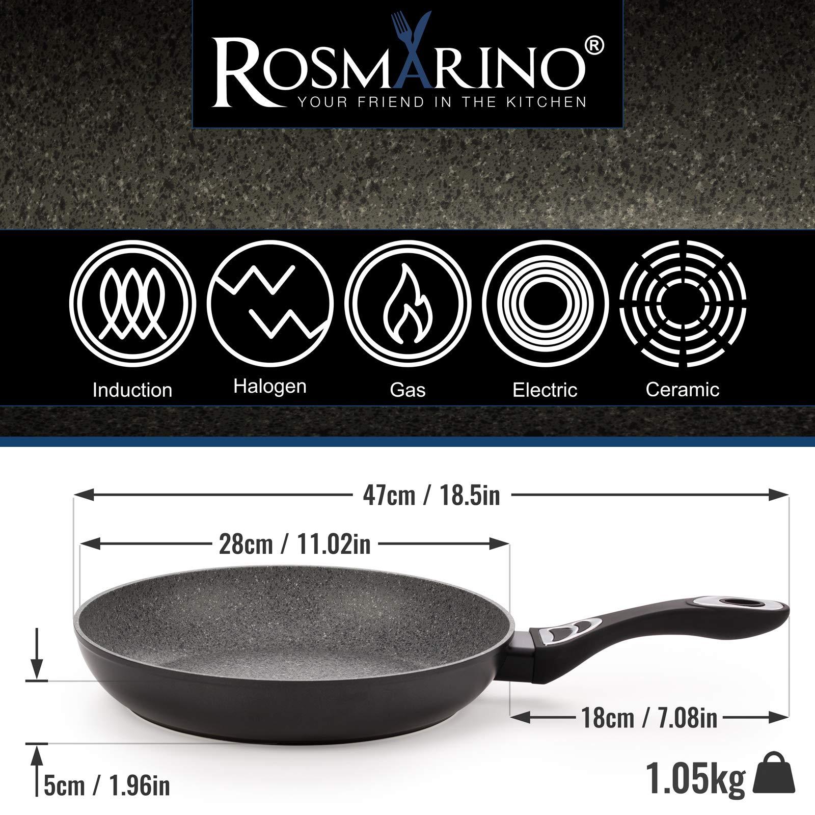 """Rosmarino™ antihaftbeschichtete Induktionssteinbratpfanne 28 cm (11""""), 100 % PFOA-frei für ein gesünderes Kochen, abplatz- und kratzfest durch die Premiumbeschichtung, stromsparend durch exzellente Leitfähigkeit"""