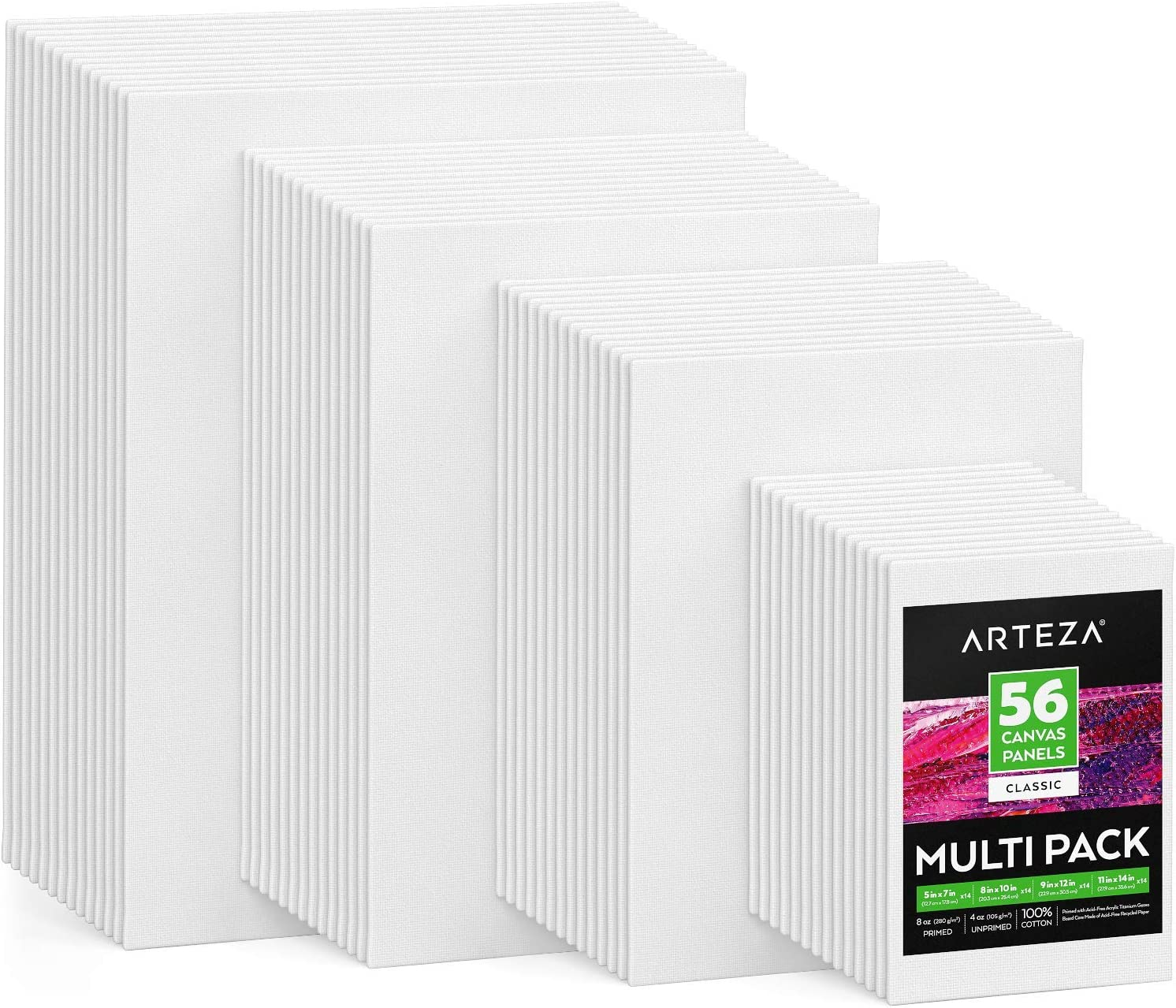 11x14 12x16 for Acrylic Set of 10 Oil 100/% Cotton 5x7 Other Wet or Dry Art Media for Artists 2 of Each Primed 16x20 8x10 Arteza Stretched White Blank Canvas Multi Pack