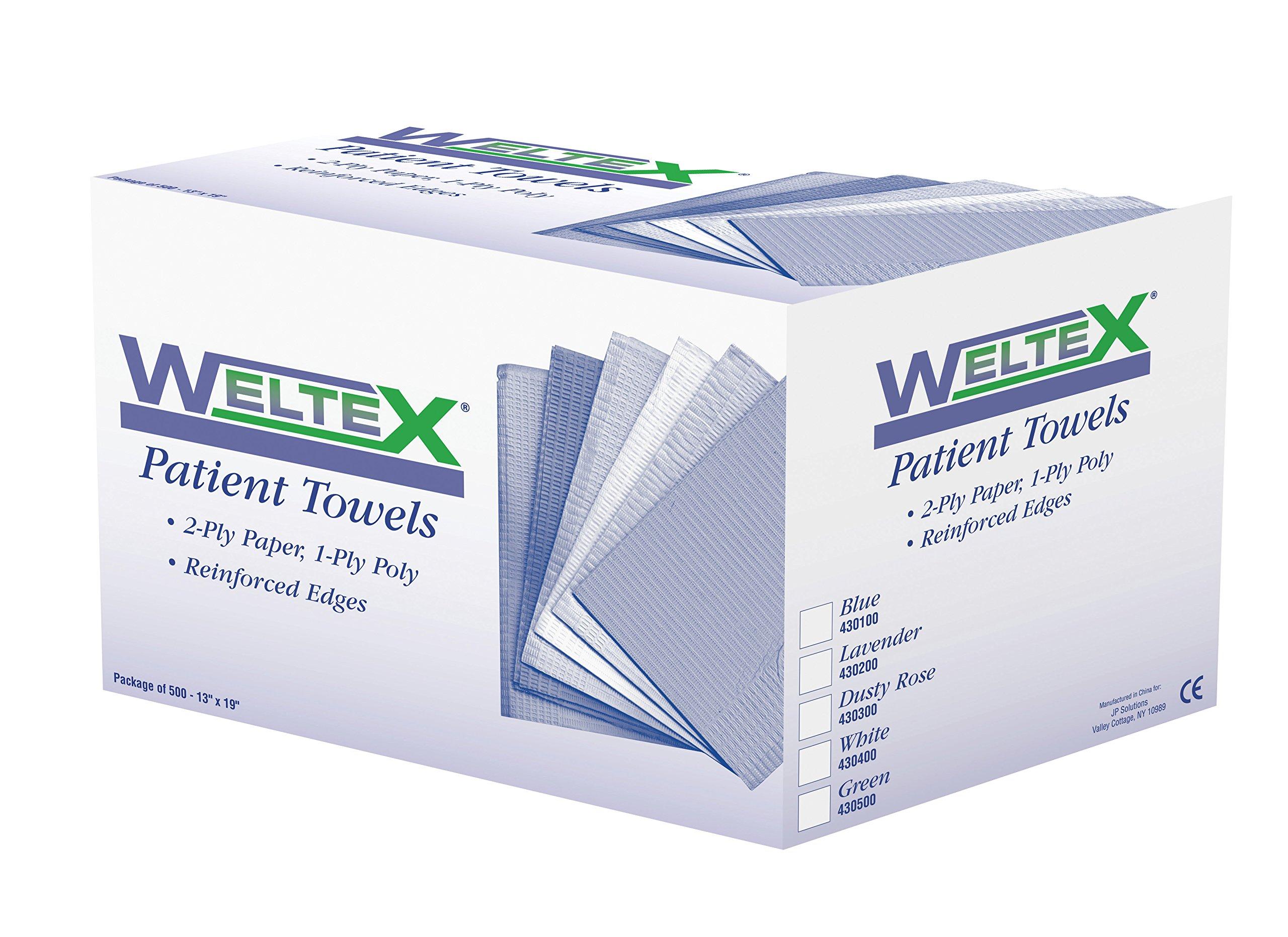JP Solutions 430200 WELTEX Patient Bibs/Towels, 13'' x 19'', Lavender (Pack of 500)