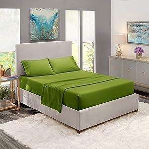 Full Sheets - Bed Sheets Full Size – Deep Pocket Hotel Sheets – Cool Sheets - Luxury 1800 Sheets Hotel Bedding Microfiber Sheets - Soft Sheets – Full - Calla Green