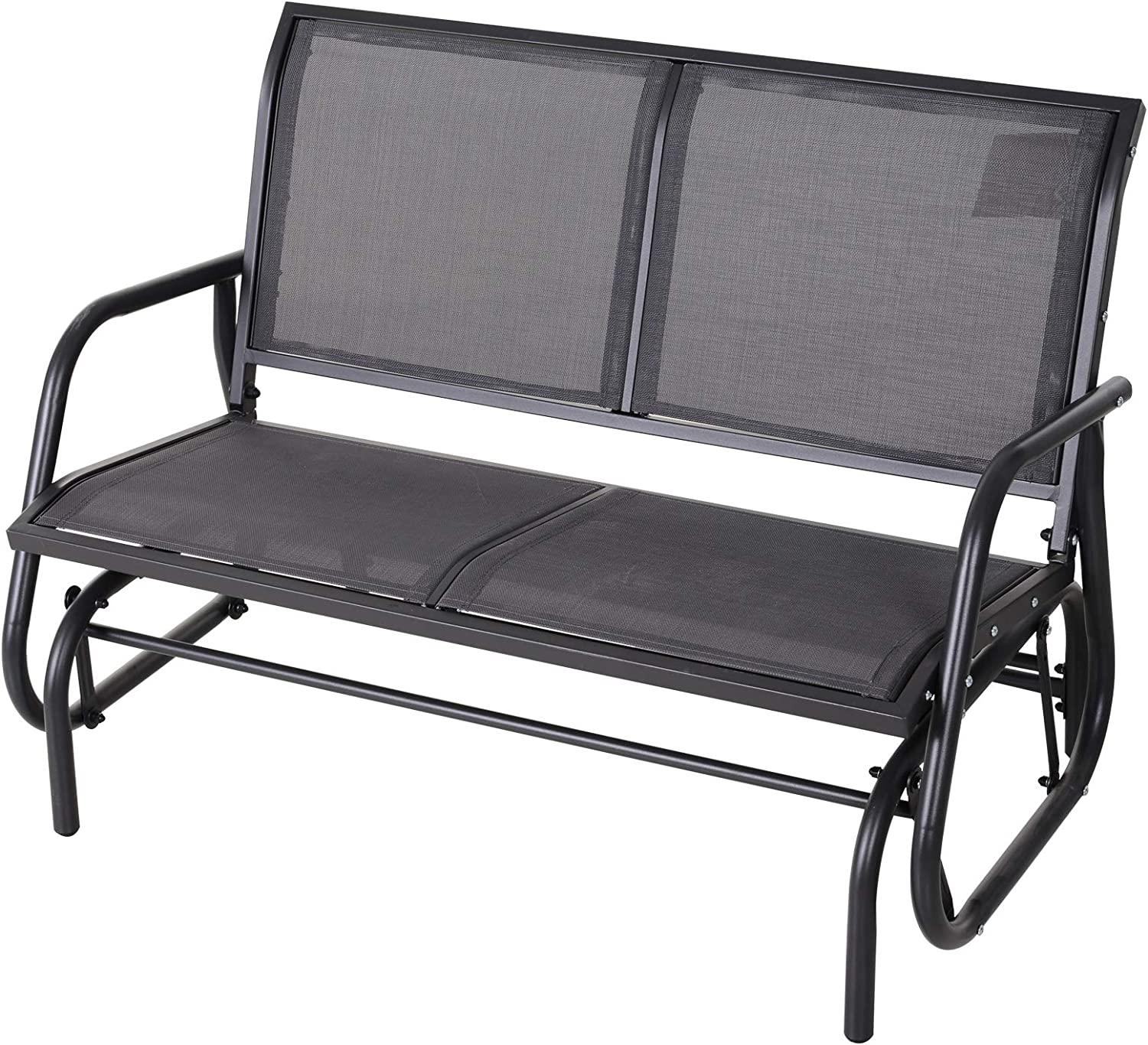 Outsunny 2-Person Outdoor Glider Bench Double Rocking Chair Loveseat w/Armrest for Patio Garden Yard Porch Grey