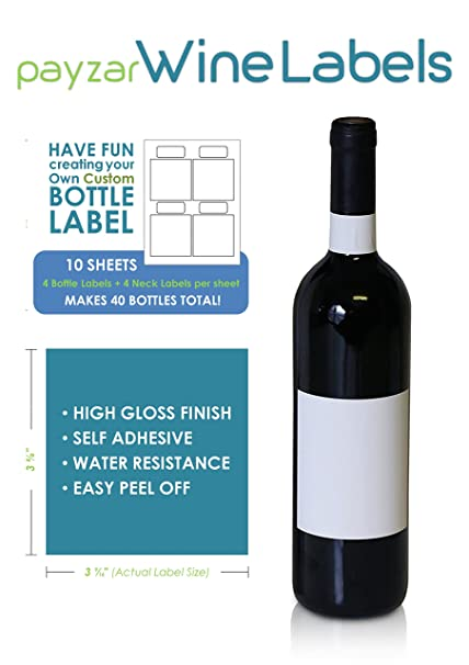 image relating to Printable Wine Trivia Questions and Answers named Blank Wine Bottle Labels - 40 Pack - Vinyl for injek printer - Payzar