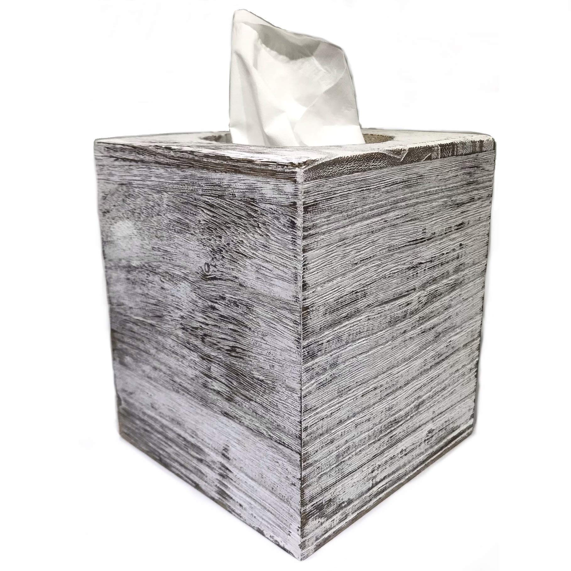 Ahaus Imports - Rustic Wood Tissue Box Cover - Square - Weathered White Barnwood - Slide Out Bottom - Great Gift Idea by Ahaus Imports
