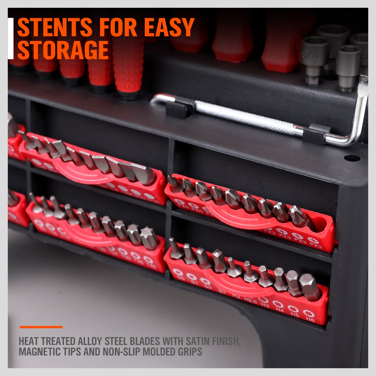 HORUSDY 100-Piece Magnetic Screwdriver Set with Plastic Racking Best Tools for Men Tools Gift