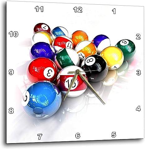 3dRose Bolas de Billar Piscina Reloj de Pared, 10 por 25,4 cm ...