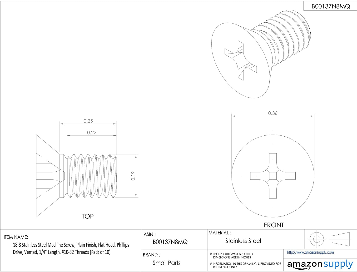 1//4 Length Flat Head Plain Finish Vented Pack of 10 Phillips Drive 18-8 Stainless Steel Machine Screw #6-32 Threads