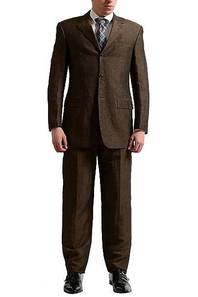 Amazon.com: Gianfranco Ferre Studio traje de lino cuatro ...