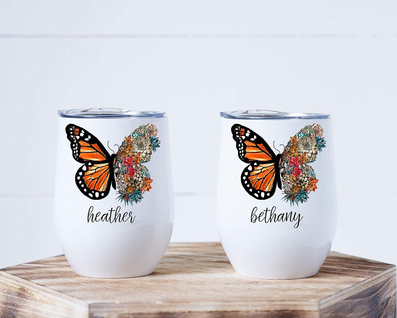 Pretty Phoxie 12oz Stemless Wine Tumbler Butterfly Gift Custom Tumbler