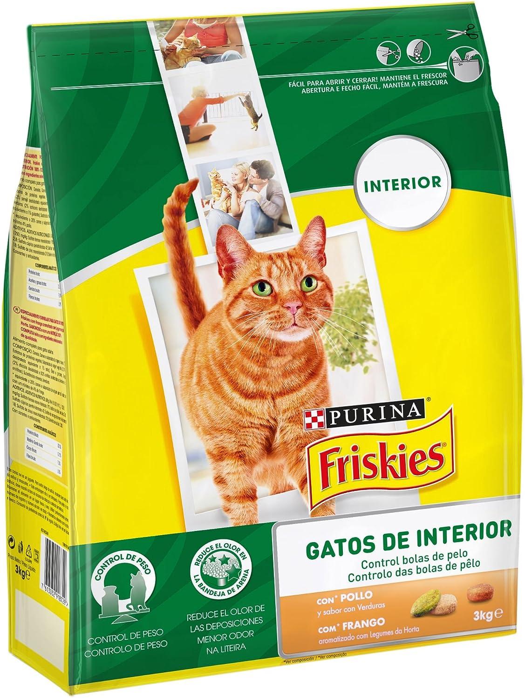 Purina Friskies Control Bolas de Pelo Pienso para Gato de Interior Pollo y Verduras 4 x 3 Kg: Amazon.es: Productos para mascotas