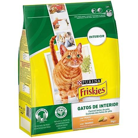 Purina Friskies Control Bolas de Pelo Pienso para Gato de Interior Pollo y Verduras 4 x
