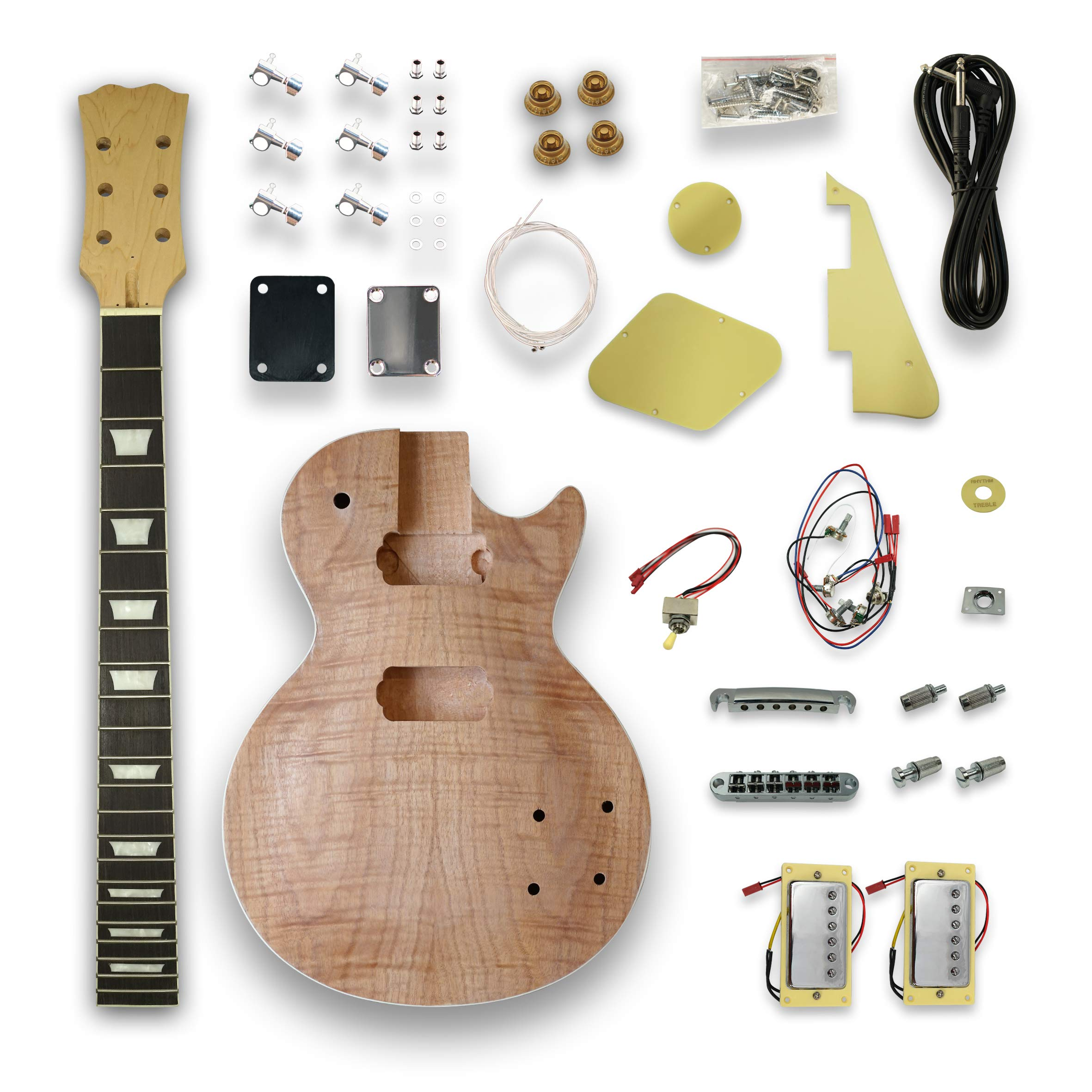 DIY Electric Guitar Kits For LP Guitar, Okoume Body, Maple Neck,Composite Ebony Fretboard by Unknown