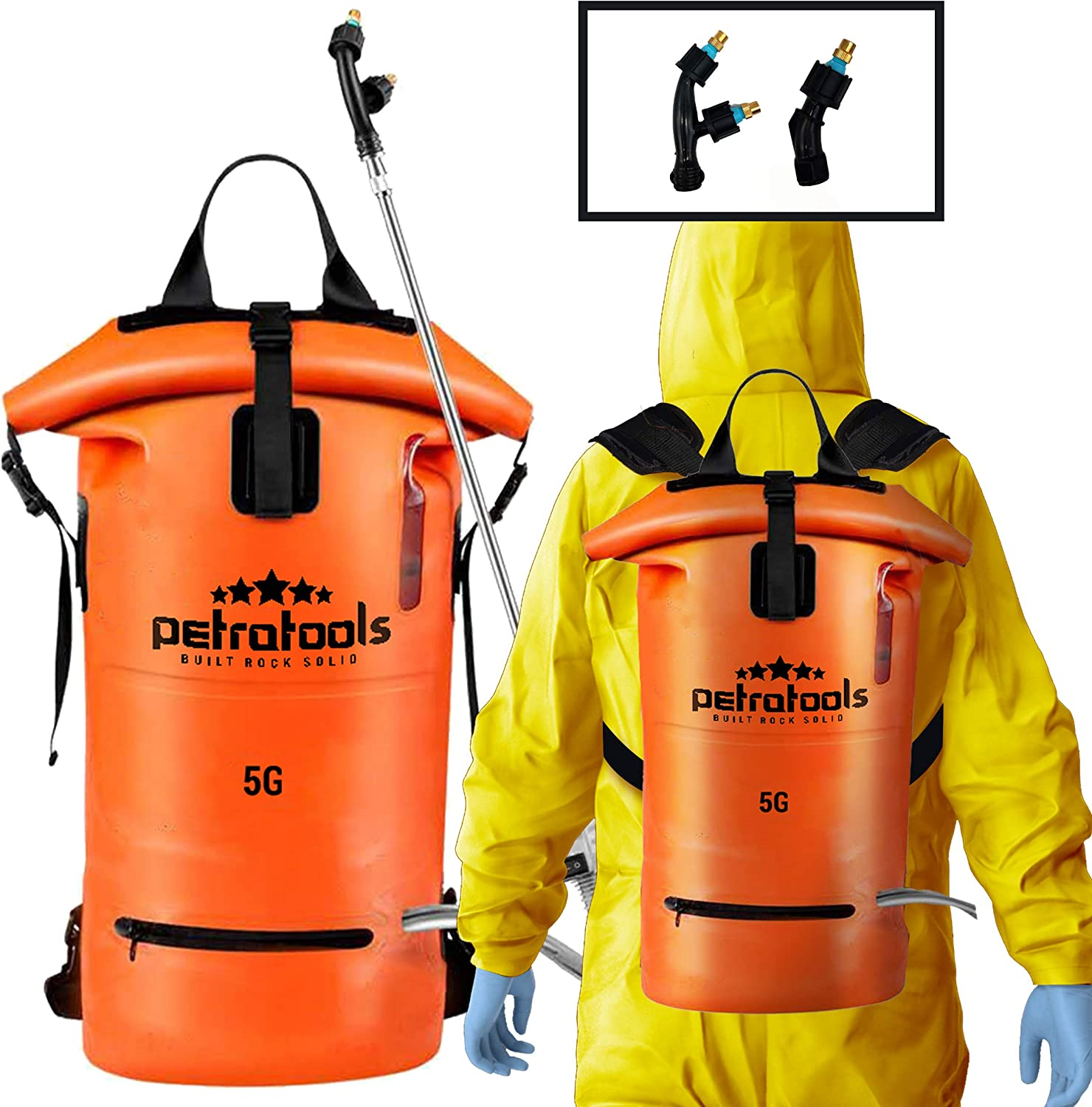 PetraTools 5 Gallon Battery Powered Backpack Sprayer - Portable Electric Sprayer for Weeds, Lawn and Garden, Herbicide, Fire Control - Durable Heavy Duty Foldable Rubber Construction
