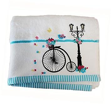 Homescapes Toalla de Manos de algodón Egipcio con Bicicleta Bordada: Amazon.es: Hogar