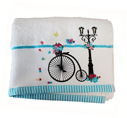 Homescapes Toalla de Manos de algodón Egipcio con Bicicleta Bordada