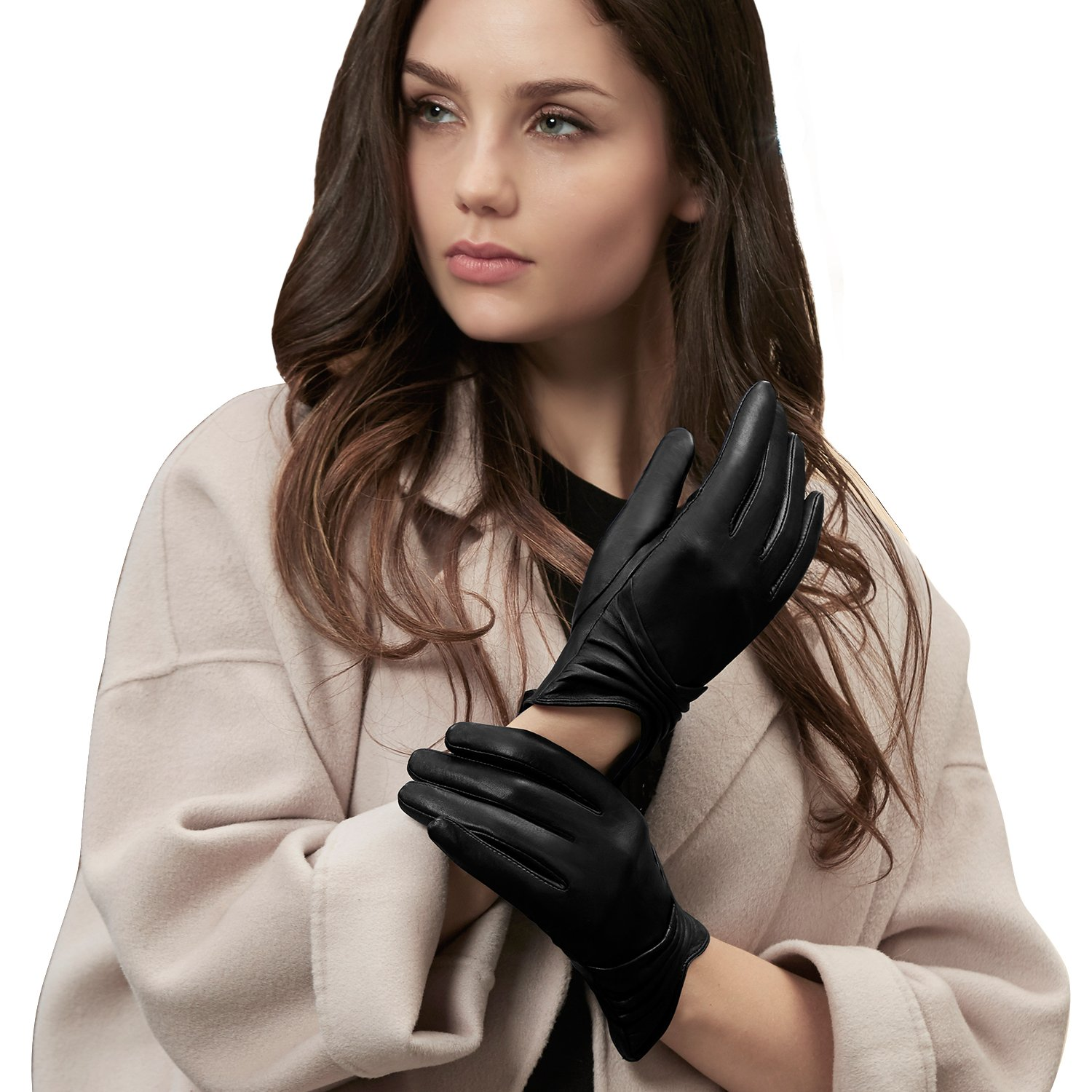 5d083f485c9ab GSG Womens Warm Leather Gloves Touchscreen Driving Fashion Ladies Gloves  Pleat Spain Nappa at Amazon Women s Clothing store