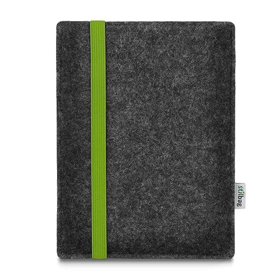 Stilbag e-Reader Tasche Leon für Tolino Vision 4 HD | Wollfilz anthrazit - Gummiband grün | Schutzhülle Made in Germany