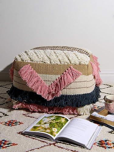 Best Home Fashion Selena Pink Fringe Pouf – Pink – 20 L x 20 W x 12 H
