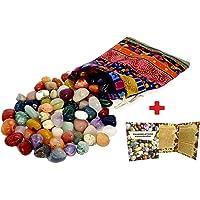 Colludo Edelsteenset | natuurlijke trommelstenen in verschillende maten | praktisch in een kleurrijke stoffen zak…